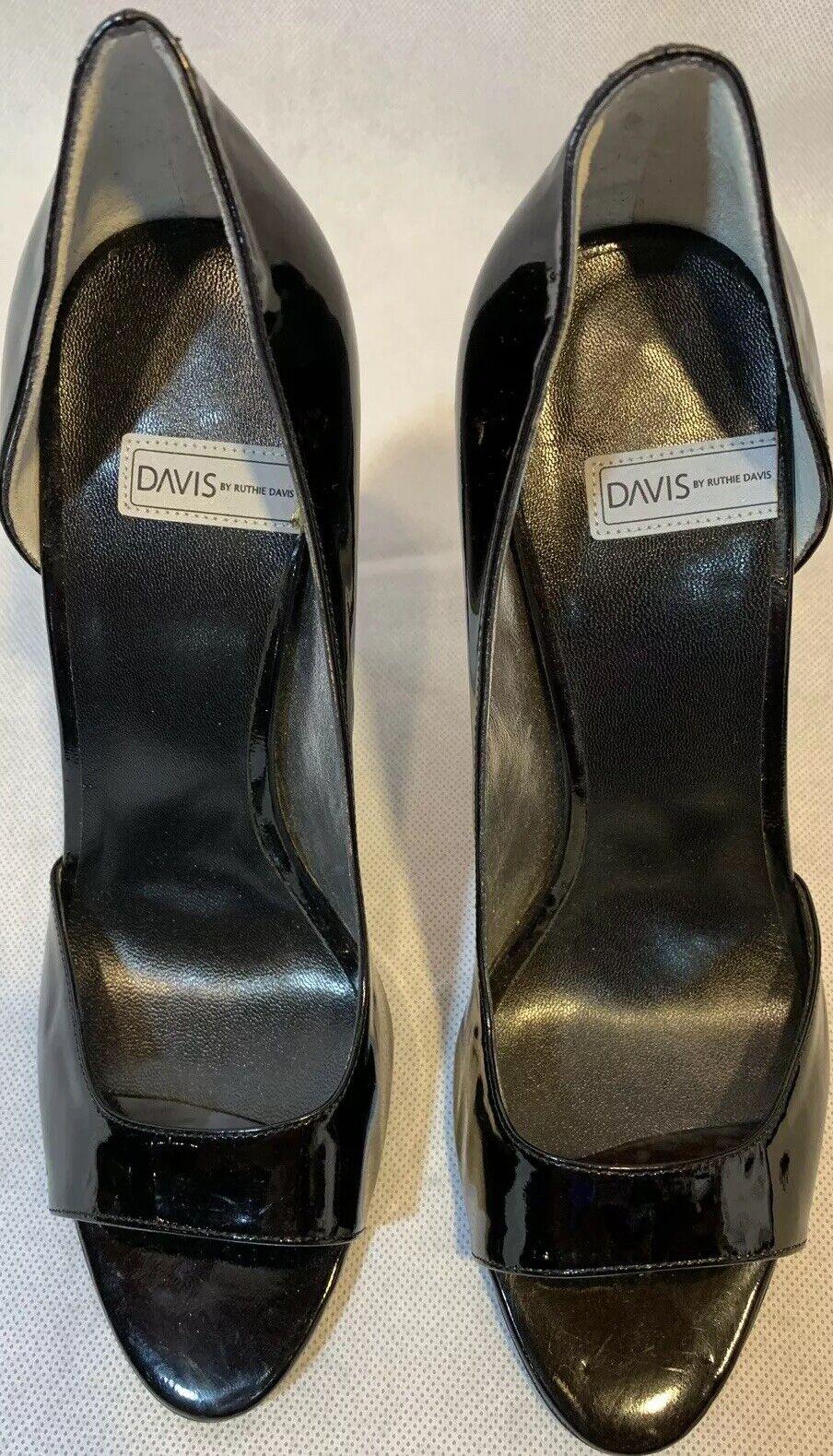 DAVIS By Ruthie Davis Black Patent Leather Peep Toe High Mirror Heel  EU37US7