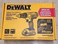 "DEWALT DCD771C2 20V Lithium-Ion Compact 1/2"" Drill/Driver Kit with 2 Batteries"