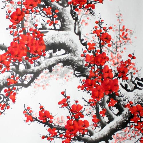"""chinesische Bildrolle /""""Pflaumenblüte und Vögel/"""" Bild China querformat Rollbild"""