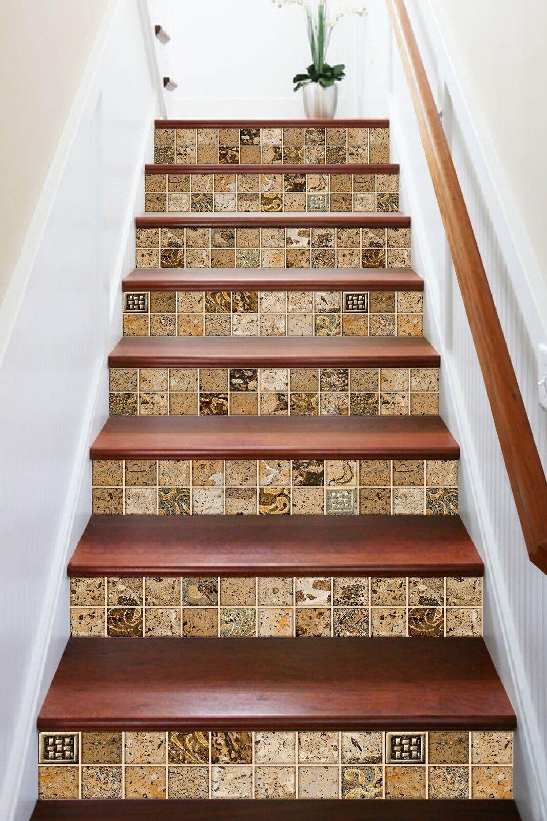 3D marron Pattern 1 Tile Marble Stair Risers Decoration Vinyl Wallpaper Mural