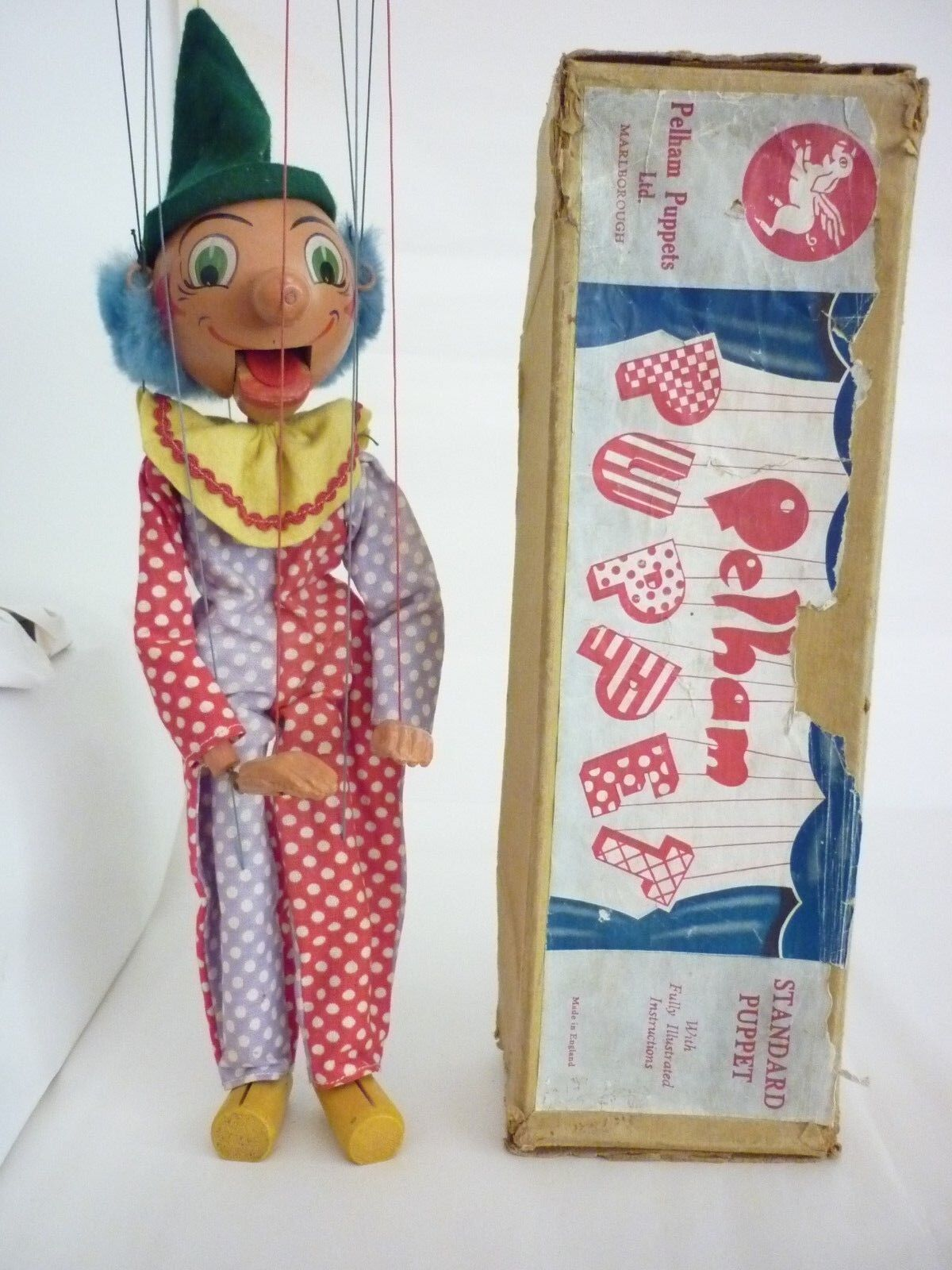 Early Vintage 1950's Pelham puppet SM Clown Boxed