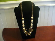 """Vintage Natural Wood Bead Coconut Shell Bead & Shard Bead 24.5"""" Necklace"""