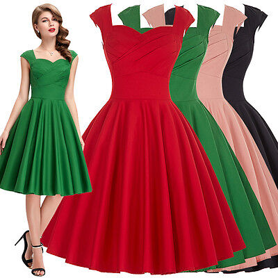 Women Housewife Vintage Retro 40s 50s 60s Swing Flared Party Pinup Evening Dress