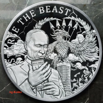 2019 Putin Dollar Bear W//COA 1 oz .999 Fine Silver Art Coin Only 1,054 Minted