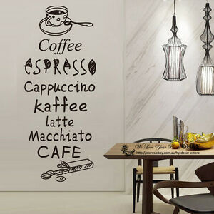 Image is loading Cake-Coffee-Cafe-Restaurant-Shop-Wall-Stickers-Window-  sc 1 st  eBay & Cake Coffee Cafe Restaurant Shop Wall Stickers Window Sign Decal Art ...