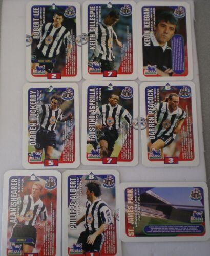 Newcastle United Subbuteo escuadrones de tarjetas de fútbol 1996 X 9 tarjetas comerciales de Hasbro