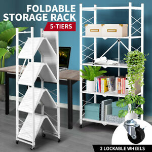 Foldable Storage Shelf Display Rack Bookshelf Bookcase Shelving Metal Organiser