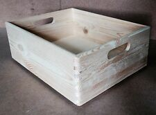* Pine wooden open storage crate 35x25x14cm DD342 A4 size box stack paper (Y)