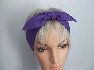 Image is loading Purple-Head-Wrap-Ladies-Hair-Tie-Head-Scarf- a5b49ac2499