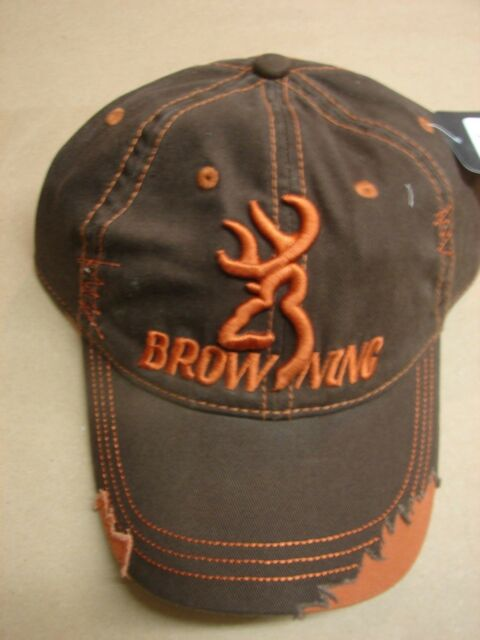 77d9895ef8b New Browning Grunge Brown Fabric Back Cap Snap Strap Hat 308188881  distressed