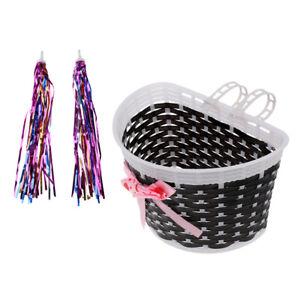 2pcs Children Kids Cycle Bike Front Basket 4pcs Handlebar Streamers Tassels