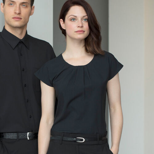 Ladies Wear Plain Top Henbury Women/'s Pleat Front Short Sleeve Blouse H597