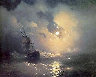 Stormy Sea At Night Painting Sailboat Lighthouse Moon Real Canvas Art Print  | eBay