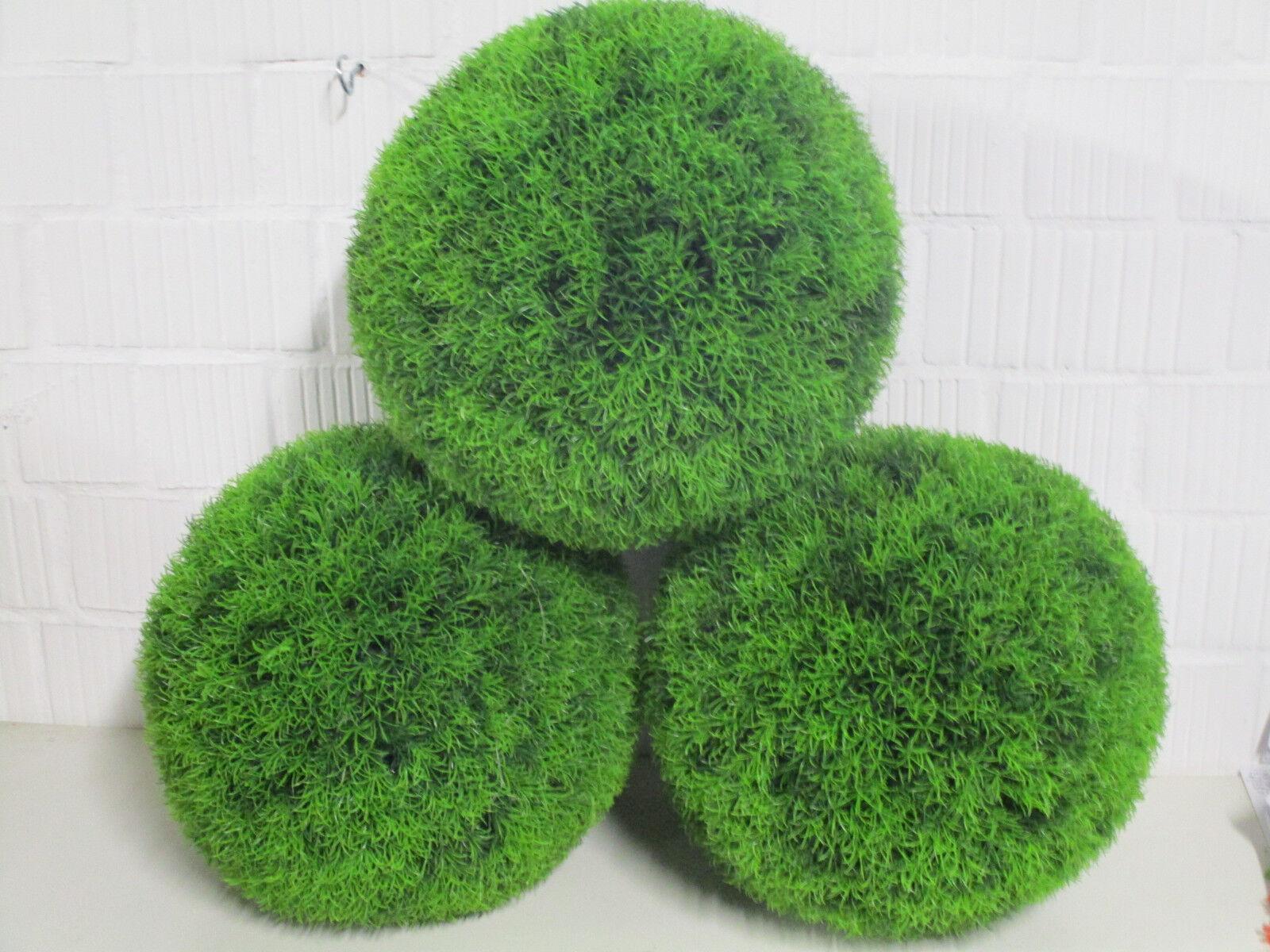 6 Stk. Graskugel künstlich 38 cm Garten Deko KunstBlaumen Kugel Gras wie echt Neu