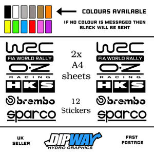 12 Matt White Car Door Stack  Sponsor Logo Stickers,Graphics,Decals set 5
