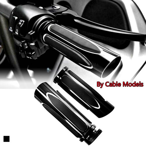 Shallowcut Black Soft Touch Comfort Hand Grips Set  For Harley Touring Cable