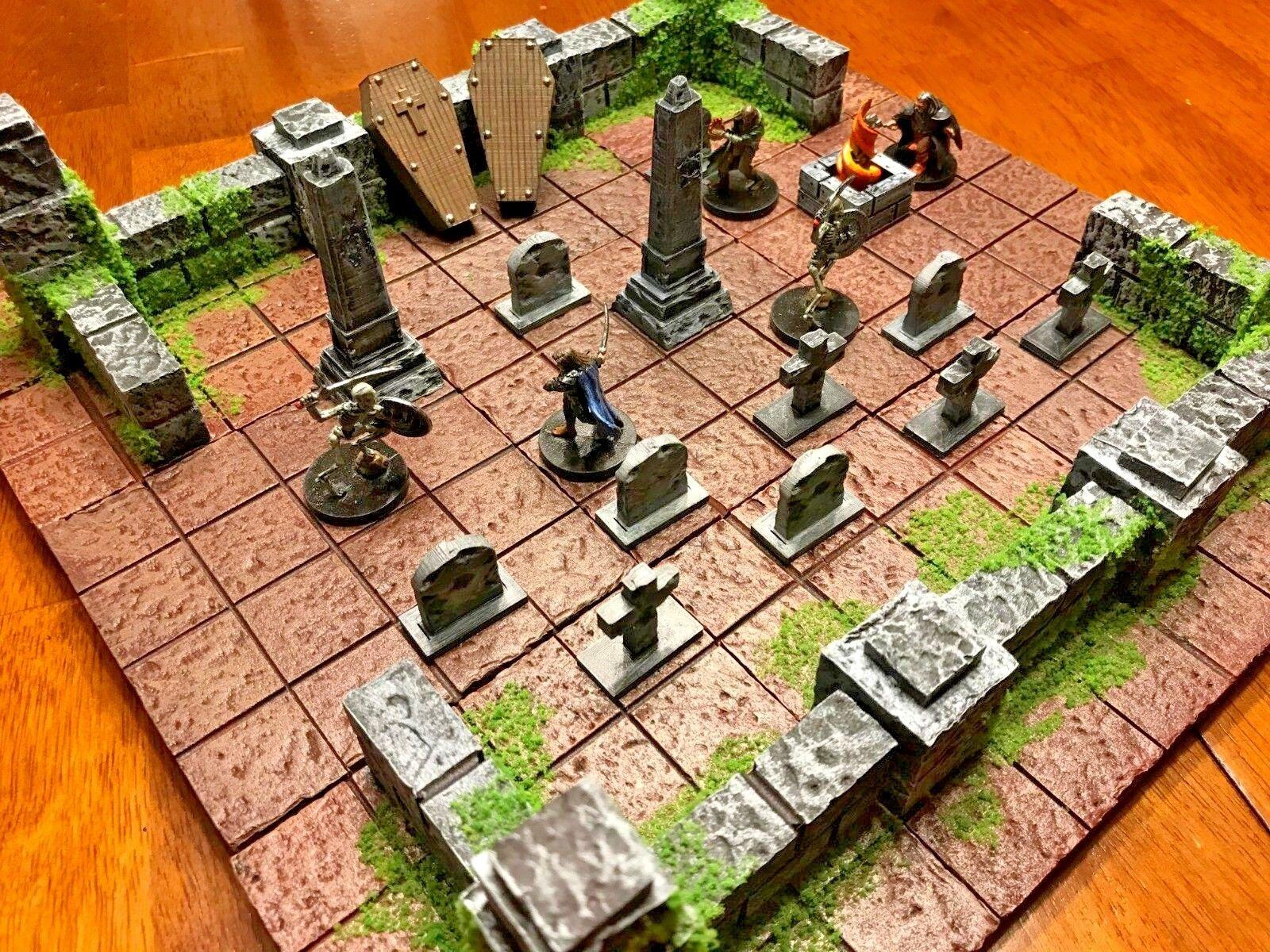 Dungeon Cemetery Set 2  28mm Terrain Dungeons & Dragons Pathfinder d&d Wargame