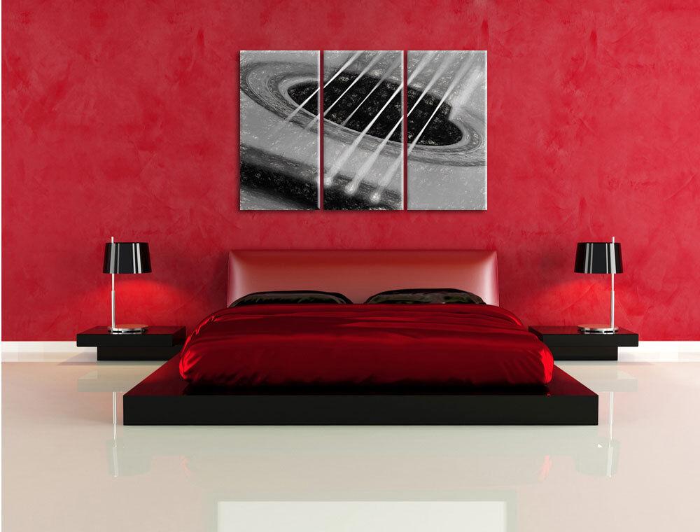 Cuerdas de Guitarra Carbón Efecto 3-Teiler Foto en Lienzo Decoración rojo de Pa rojo Decoración  774263