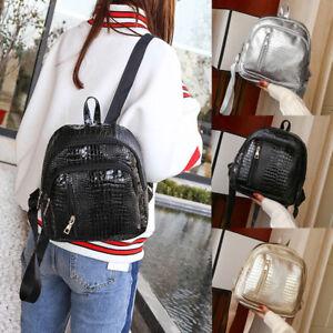 3393409a9a Crocodile Mini Leather Backpack Women Mini Back Pack Girl Shoulder ...