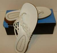 Womens White Thong Sandals Size 10m Womens-new In Box-relativity Brand-new