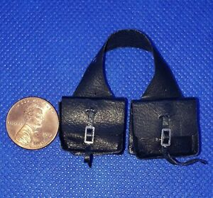 Dollhouse-Miniature-Handmade-Leather-034-New-034-Saddlebags-in-Black-1-12-Scale