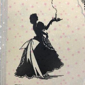 Vintage Art Deco Christmas Greeting Card Pretty Lady Victorian Dress