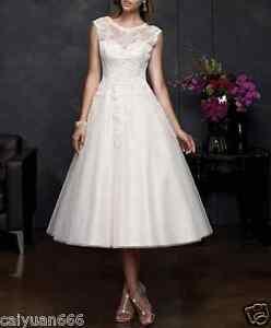 New-White-Ivory-Tea-Length-Short-Lace-Vintage-Wedding-Dress-Bridal-Gowns-6-18