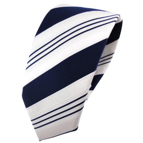 schmale TigerTie Satin Krawatte blau dunkelblau weiß silber gestreift Binder