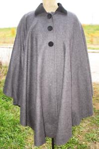 Rafael nero lana rigenerato foderato di 100 lana e grigio Poncho Z6qztxg6