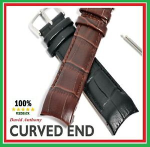 Superb Luxury Curved End Genuine Calf Leather Watch Strap 20mm 22mm Or 24mm Ebay