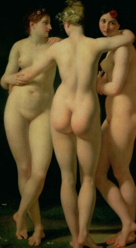 Dream-art Oil painting three nude young girls together in landscape hand painted