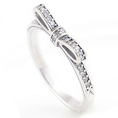 Size 6 925 Solid Sterling Silver Pave Bow Ring Band in White Cubic Zirconia