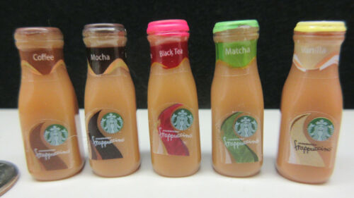 STARBUCKS 5 MINIATURE DOLLHOUSE FRAPPUCCINO COFFEE DRINK BOTTLE LOT ACCESSORY
