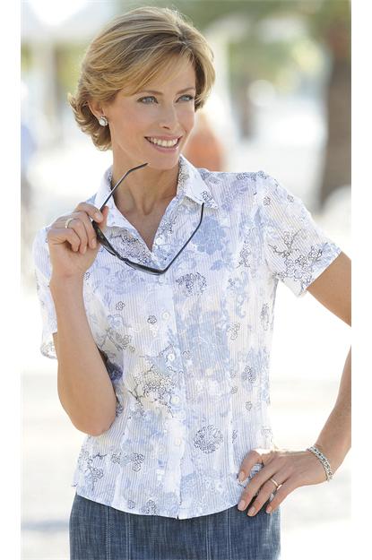 La Maison du Jersey Blue Floral Embroidered Blouse Top Size 9 NEW RRP €9  White