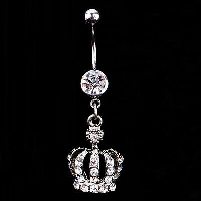 New Chic Navel Belly Button Ring Crown Rhinestone Crystal Piercing Body Jewelry