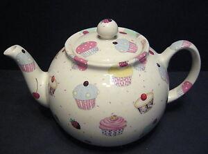 Heron-Cross-Pottery-Cup-Cakes-Chintz-English-6-8-Cup-Tea-Pot