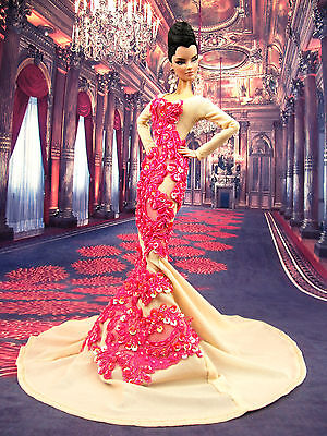 Eaki Designer Evening Lace Dress Gown Outfit Silkstone Barbie Fashion Royalty FR