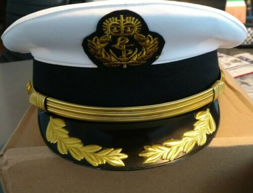 Military Costume Hats Navy Officer Caps Adult Men White Military Hats