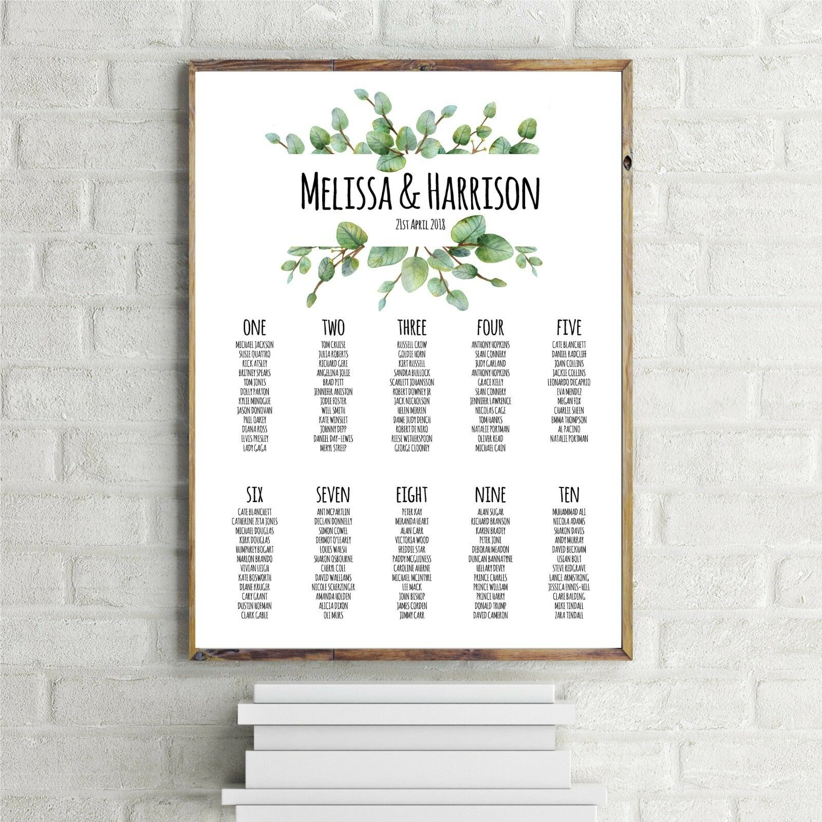 Personalised 'Melissa' design Wedding Table Seating Plan A1 A2 UNFRAMED
