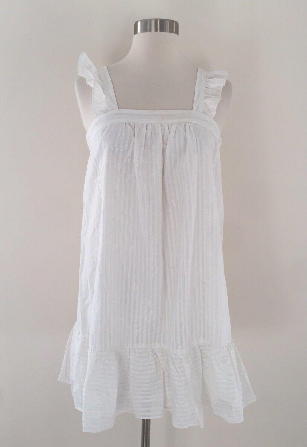New Madewell Metallic Stripe Ruffle Dress Sz XS Lighthouse Weiß G6078
