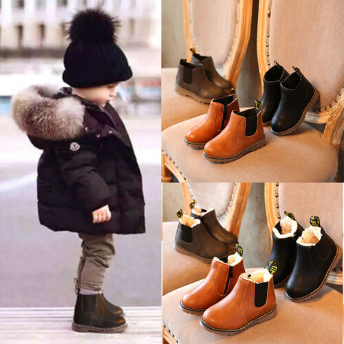 Warm Baby Kid Boys Girls Fur Snow Martin Boots Toddler Waterproof Shoes New