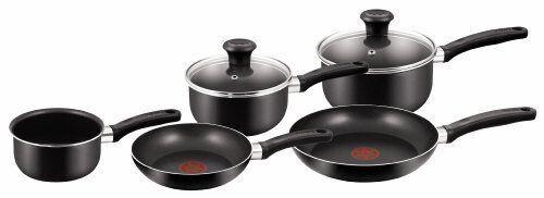 TEFAL deleite Cookware Set 5 Piezas Antiadherentes Negro Cacerola conjuntos Ollas Y Sartenes