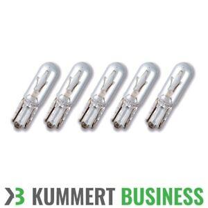 5x-W1-2W-12V-Sockel-T5-W2x4-6d-Glassockellampe-Tachobeleuchtung