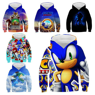 Kids Anime Sonic The Hedgehog 3d Printed Hoodies Boys Supersonic Casual Pullover Ebay