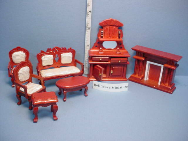Town Square Miniatures White Mahogany Living Room Set   7 Piece. Delivery  For Sale Online | EBay