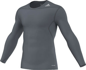 adidas-Techfit-Base-grau-Laufshirt-Sportshirt-Gr-XS-S-M-L-XL-XXL-3XL