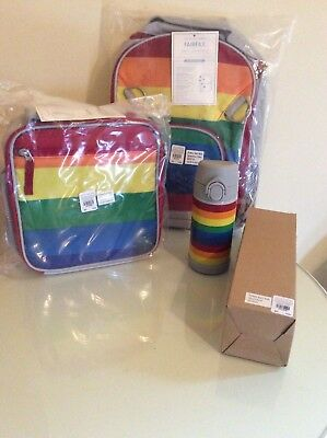 Pottery Barn Set Kid Stripe Backpack Lunch Box Water