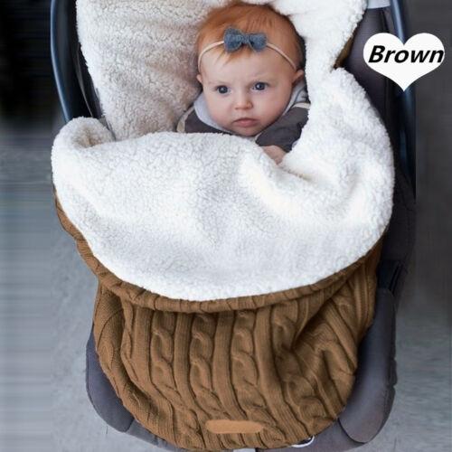 Newborn Baby Infant Swaddle Wrap Warm Blanket Soft Knitting Flannel Sleeping Bag
