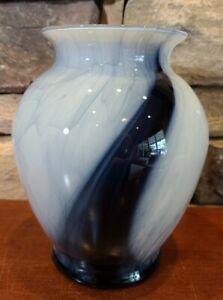 """Flower Vase Art Glass Swirl Cobalt Blue And White Floral Decor 7.5"""" Tall"""