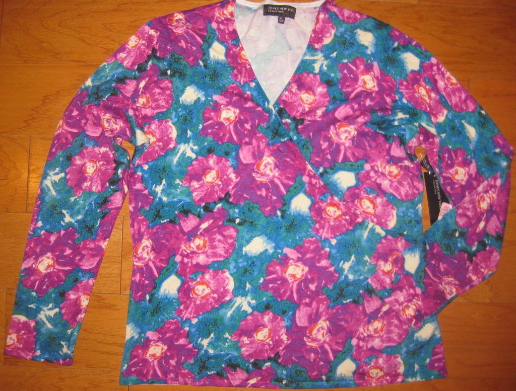 Jones New York Carnivale Floral Wrap Style Sweater Top L